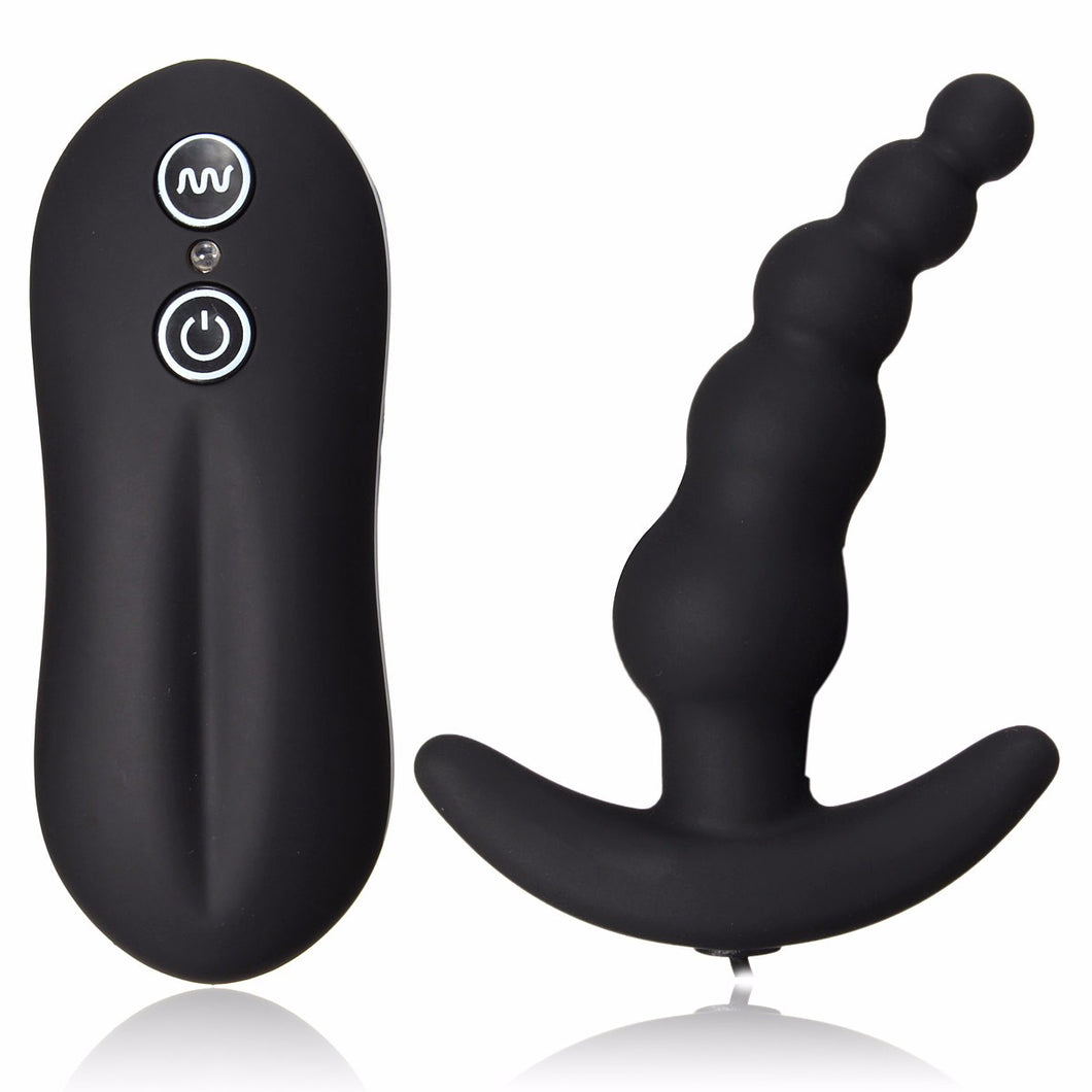 Bead style Male Prostate orgasm stimulator with remote- 10 modes vibration