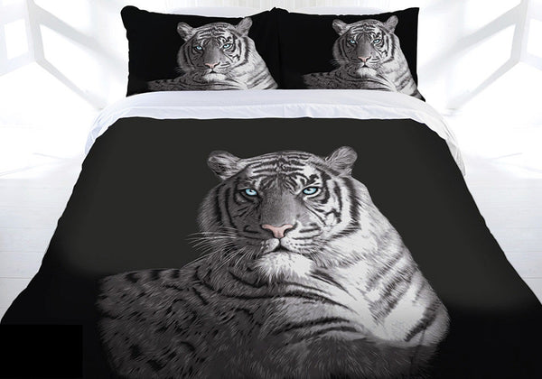 Tiger Blue Eyes Queen Bed Quilt Doona Cover Set - The Bowerbirds Nest of Treasures
