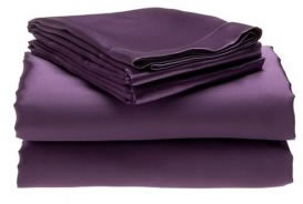 Satin Soft Silk Double Bed Fitted Sheet Set Purple - the-bowerbirds-nest-of-treasures