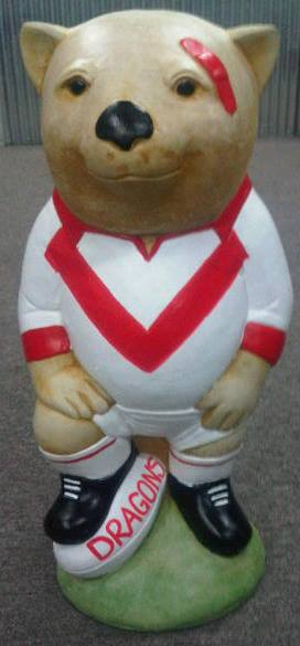 ILLAWARRA DRAGONS NRL Footy Wombat Concrete Statue - The Bowerbirds Nest of Treasures