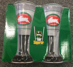 NRL South Sydney Rabbitohs Set 2 Beer Drink Glass Mancave Bar Gift - The Bowerbirds Nest of Treasures