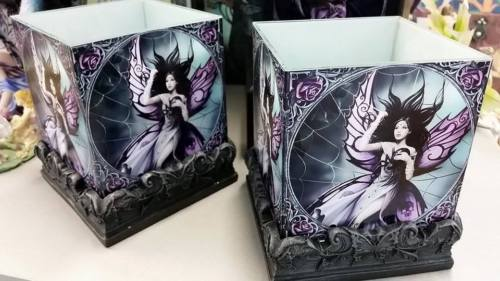 ANNE STOKES SILK LURE Gothic Queen Fairy Spiderweb Candle Holders Set 2 - the-bowerbirds-nest-of-treasures