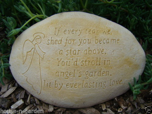 Angel Memorial Stone Concrete Garden Statue Ornament - The Bowerbirds Nest of Treasures