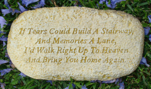 Inspirational Tears Memorial Heaven Rock Stone Wall Plaque Concrete Statue - The Bowerbirds Nest of Treasures