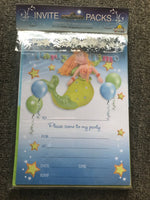 Girls Mermaid Party Invitations with Envelopes & Scatters - the-bowerbirds-nest-of-treasures