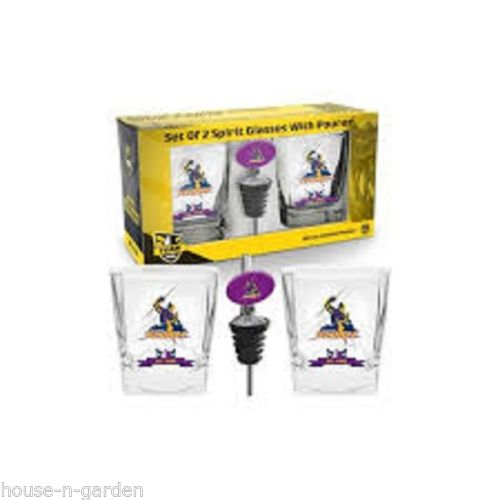 NRL MELBOURNE STORM Set 2 Spirit Glass Glasses with Pourer Gift Set - The Bowerbirds Nest of Treasures