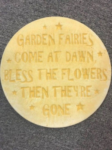GARDEN FAIRIES STEPPING STONE PLAQUE Concrete Garden Statue Ornament - the-bowerbirds-nest-of-treasures