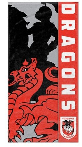 NRL OFFICIAL LICENSED PRODUCT St.George Illawarrra DRAGONS Beach Bath Towel - The Bowerbirds Nest of Treasures