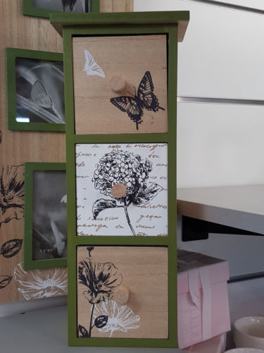 Botanicals Butterfly Wooden Storage Draws Home Decor - the-bowerbirds-nest-of-treasures