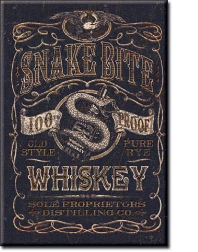 Snake Bite Whiskey Metal Tin Sign Barware Mancave Garage Fathers Day Gift - the-bowerbirds-nest-of-treasures
