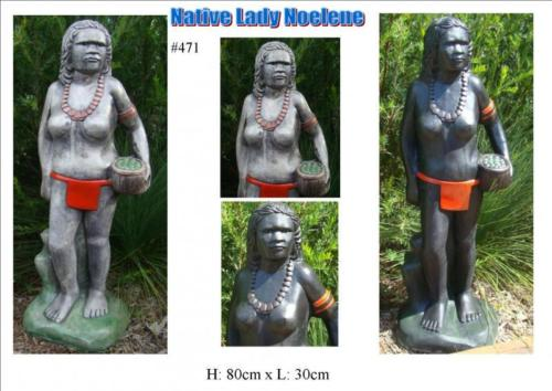 Indigenous NATIVE LADY NOELENE Concrete Garden Lawn Statue Ornament ~ PICKUP ONLY - The Bowerbirds Nest of Treasures