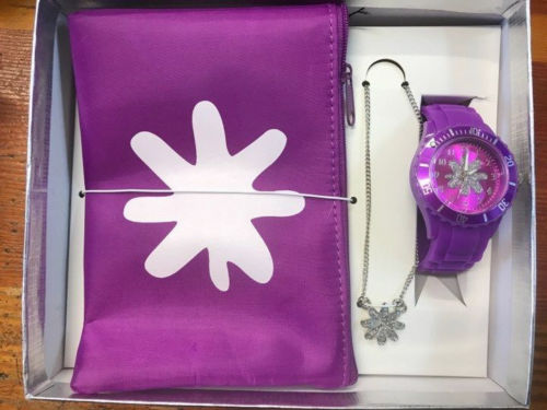 PURPLE FLOWER WATCH NECKLACE & WALLET BAG Girls Gift Set - The Bowerbirds Nest of Treasures