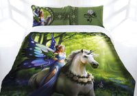 Anne Stokes REALM OF ENCHANTMENT Fairy Unicorn Queen Bed Quilt Doona Cover Set - The Bowerbirds Nest of Treasures