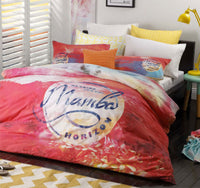 100 % MAMBO SUNSET PINK Double Bed Quilt Cover Set - The Bowerbirds Nest of Treasures