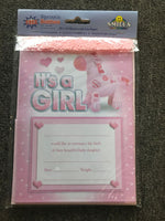 Its a Girl Announcement Notes with Envelopes & Scatters - The Bowerbirds Nest of Treasures