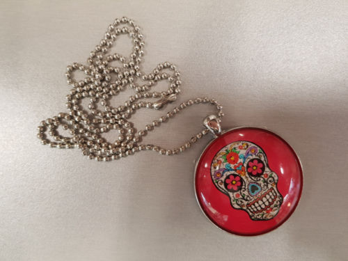 Sugar Skull Necklace Pendant Chain Girls Teens Jewellery - the-bowerbirds-nest-of-treasures