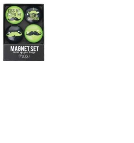 SPLOSH GREEN BLACK MOUSTACHE SET 4 GLASS FRIDGE MANCAVE MAGNET SET - The Bowerbirds Nest of Treasures