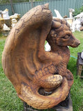 LARGE DRAGON SITTING CONCRETE GARDEN STATUE ORNAMENT - the-bowerbirds-nest-of-treasures