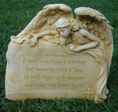 Inspirational Angel Tears Memorial Heaven Rock Concrete Garden Ornament Statue - The Bowerbirds Nest of Treasures