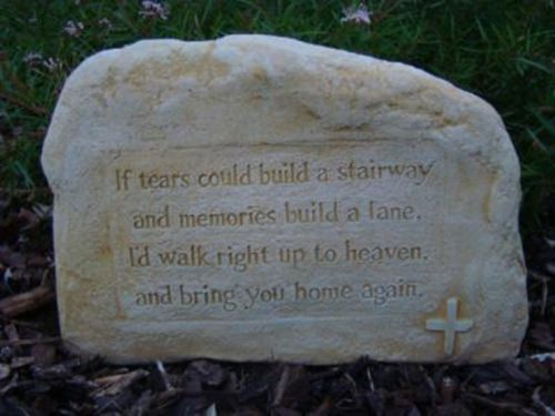 Inspirational Tears Memorial Heaven Rock Stone Concrete Garden Ornament Statue - The Bowerbirds Nest of Treasures
