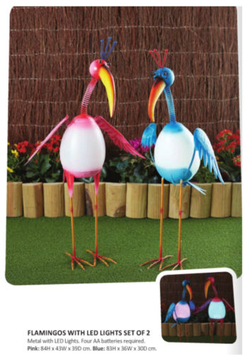 Metal Flamingo with LED Lights Home Garden Statue Ornament Lawn Decor - The Bowerbirds Nest of Treasures