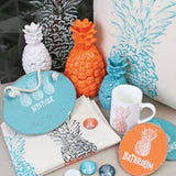 Splosh FIESTA PINEAPPLE Orange Laundry Home Office Wall Plaque Door Sign - The Bowerbirds Nest of Treasures