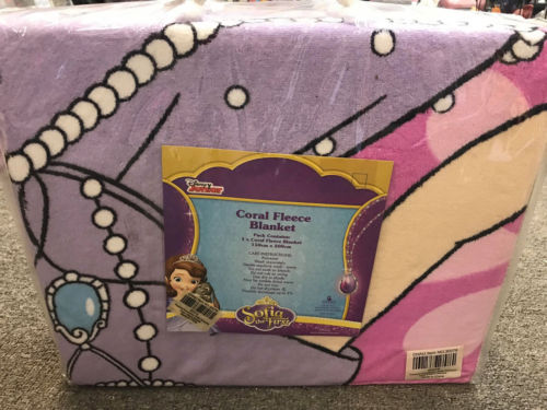 DISNEY JUNIOR SOFIA THE FIRST CORAL FLEECE BLANKET THROW RUG BEDROOM DECOR - the-bowerbirds-nest-of-treasures