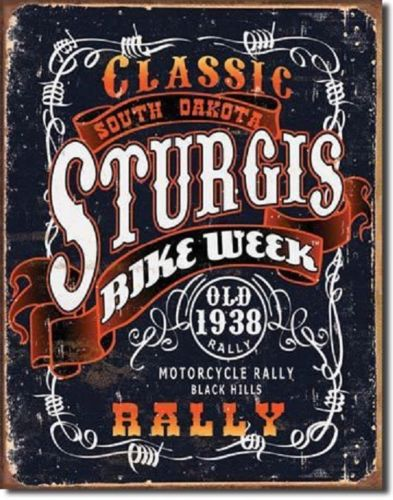 Classic Sturgis Bike Week Metal Tin Sign Barware Mancave Garage Fathers Day Gift - the-bowerbirds-nest-of-treasures
