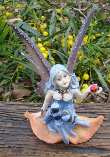 FAIRY WITH LADY BUG Statue Ornament - The Bowerbirds Nest of Treasures