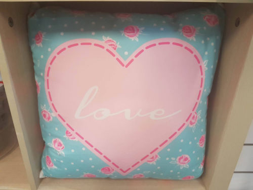 LOVE HEART FLOWERS PINK & BLUE BEDROOM CUSHION PILLOW - The Bowerbirds Nest of Treasures