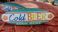 COLD BEER SOLD HERE Wooden Surfboard Wall Hang Sign Mancave Gift - The Bowerbirds Nest of Treasures