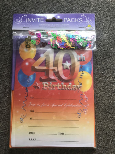 40th Birthday Invitations with Envelopes & Scatters - The Bowerbirds Nest of Treasures