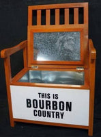 THIS IS BOURBON COUNTRY WOODEN SEAT CHAIR WITH ICE DRINKS COOLER BOX - The Bowerbirds Nest of Treasures