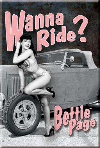 BETTIE PAGE WANNA RIDE Metal Tin Sign Barware Mancave Garage - The Bowerbirds Nest of Treasures