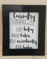 LAUNDRY SCHEDULE SORT WASH FOLD SIGN WALL ART FRAME HOME DECOR - The Bowerbirds Nest of Treasures