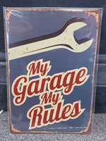 MY GARAGE MY RULES Bar Mancave Garage Metal Sign Wall Art - The Bowerbirds Nest of Treasures