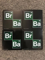 BREAKING BAD Logo Set 4 Cork Drink Coasters Barware Mancave - The Bowerbirds Nest of Treasures
