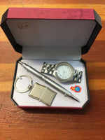 MENS SILVER WATCH KEYRING AND PEN Gift Set Fathers Day Gift - The Bowerbirds Nest of Treasures