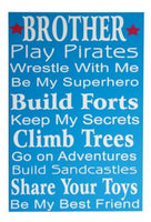 Brother Best Friend Boys Wooden Wall Art Sign - the-bowerbirds-nest-of-treasures