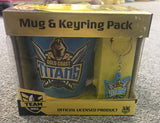 OFFICIAL LICENSED NRL GOLD COAST TITANS CERAMIC COFFEE CUP MUG AND KEYRING SET - The Bowerbirds Nest of Treasures