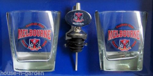 OFFICIAL LICENSED AFL MELBOURNE DEMONS SET 2 SPIRIT GLASSES WITH POURER BARWARE - The Bowerbirds Nest of Treasures