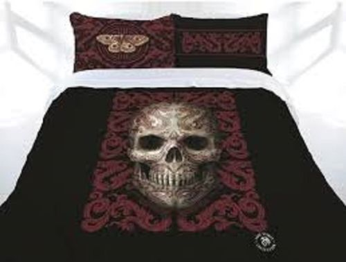 ANNE STOKES ORIENTAL SKULL SKELETON KING BED QUILT COVER SET HOME DECOR - the-bowerbirds-nest-of-treasures