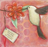 HUMMINGBIRD Red Wall Hang or Stand Alone Inspirational Feel Good Canvas - The Bowerbirds Nest of Treasures