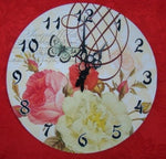 ROSES Flowers with Butterfly Wall Hung Clock Home Decor - The Bowerbirds Nest of Treasures