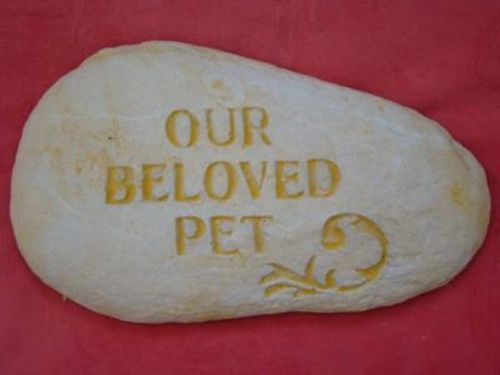 OUR BELOVED PET Dog Cat MEMORIAL ROCK STONE CONCRETE GARDEN STATUE ORNAMENT - The Bowerbirds Nest of Treasures