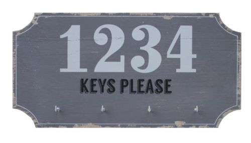 SPLOSH LOFT KEYS PLEASE KEY ORGANISER GREY HOME OFFICE WALL HANGER WALL PLAQUE - the-bowerbirds-nest-of-treasures