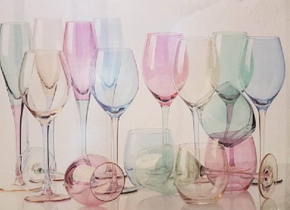 16 Peice Multicoloured Drink Wine Glasses Set