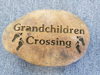 Grandchildren Crossing Rock Stone Concrete Garden Statue Ornament - The Bowerbirds Nest of Treasures