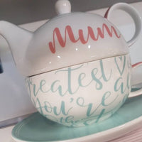 Awesome Mum Tea For One Ceramic Tea Pot, Cup & Saucer Set - The Bowerbirds Nest of Treasures
