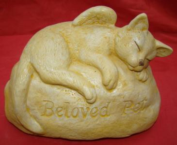 Angel Cat Beloved Pet Memorial Concrete Statue - The Bowerbirds Nest of Treasures